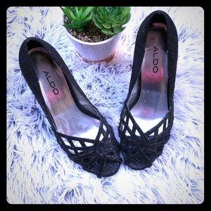 Aldo Black Glitter heels 38